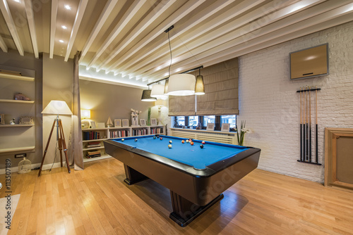 Fotografie, Obraz  Interior of a luxury living room with billiard table