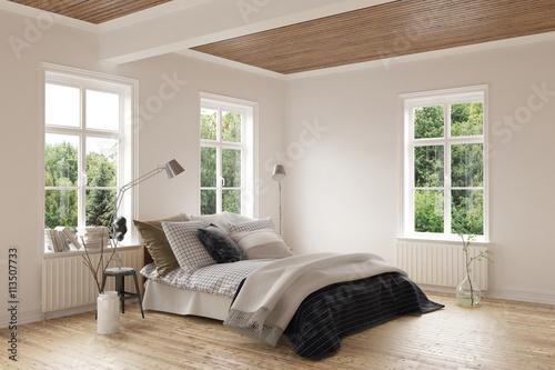 Foto  Modern bedroom with hardwood floor and ceiling