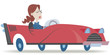 Girl in a red car. Retro style illustration of a woman driving a red convertible.