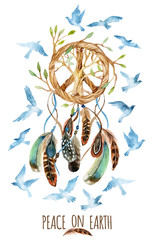 Panel Szklany Do sypialni Watercolor ethnic dream catcher and peace sign.