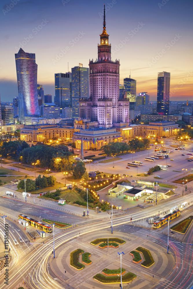 Fototapety, obrazy: Centrum Warszawy po zachodzie słońca
