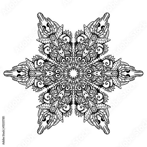 Kleurplaat Kat Volwassenen Black Mandala For Coloring Mandala Vector Coloring Page
