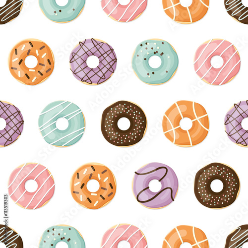 Cotton fabric Vector seamless pattern. Sweet donuts.