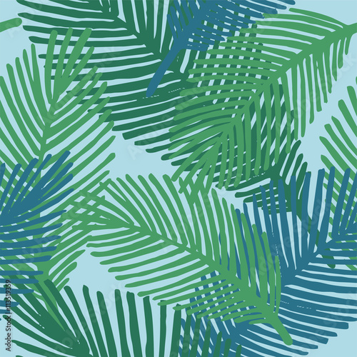 Ingelijste posters Tropische Bladeren Cute floral seamless pattern with leaves