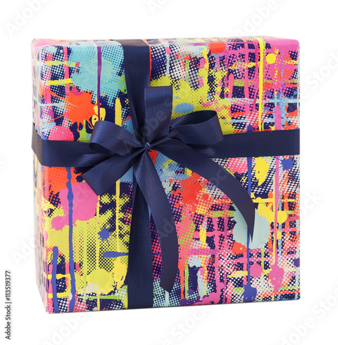 Colorful Modern Art Stain Paper Blue Ribbon Bow Gift Box Present Birthday Christmas Surprise Isolated