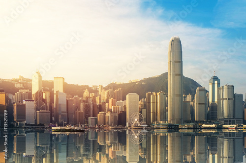 Hong Kong's Victoria Harbour in sunrise Poster