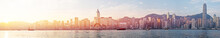 Hongkong Skyline In Sunrise View Panorama