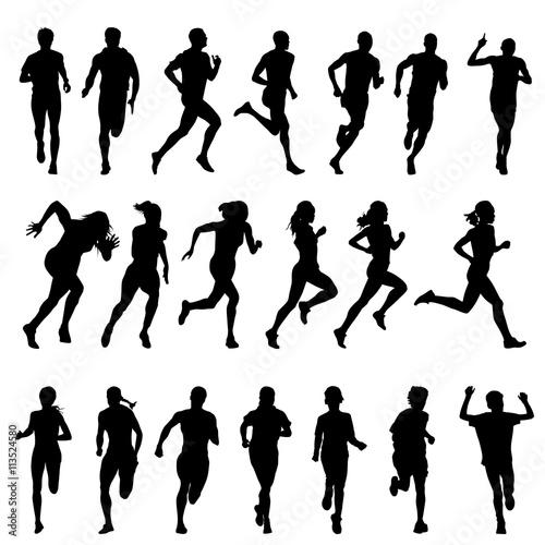 Foto  Satz Schattenbilder von laufenden Männern, Frauen, Kinder