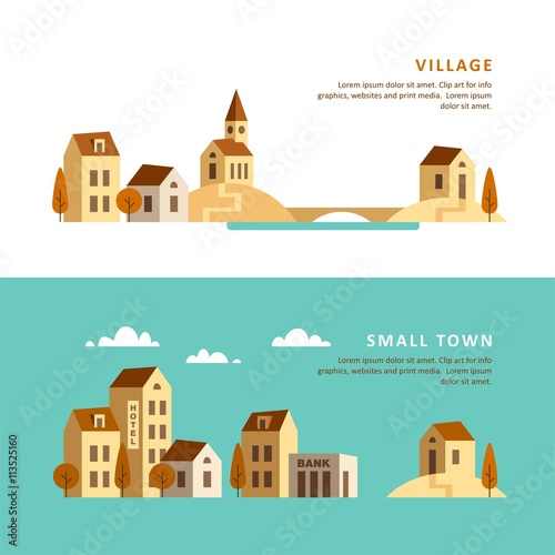 Recess Fitting Green coral Village. Small town. Rural and urban landscape. Vector illustration.