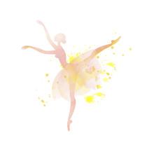 Ballet Dancer Watercolor Illus...