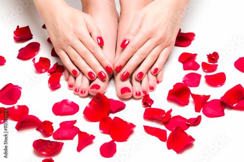 Fotografie, Obraz  Stopy i dłonie otoczone płatkami Róż