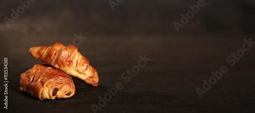 Fotografie, Obraz  croissant et pain au chocolat