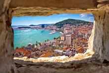 Split Bay Aerial View Through Stone Window