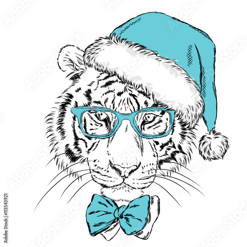 Poster Croquis dessinés à la main des animaux Tiger in Christmas hat and sunglasses. Print on a postcard or poster. Vector illustration. Holiday card. New Year's and Christmas. Santa Claus.