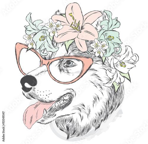 Pies w wieniec. Wektor karty lub plakatu. Drukuj na ubraniach.
