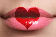 Heart Kiss On The Lips. Beauty Sexy Full Lips With Heart Shape P