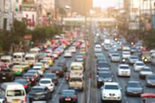 Blurred Traffic Jam With Light
