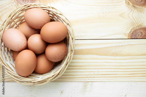 Top view of eggs in the basket