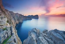 Klippen Am Cap Formentor, Mallorca, Sonnenuntergang