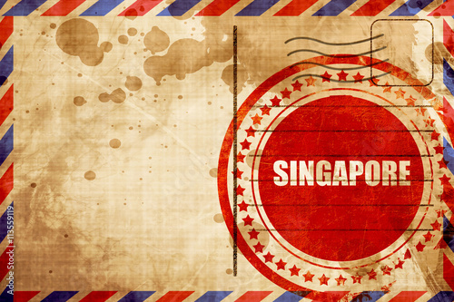 Photo  singapore, red grunge stamp on an airmail background
