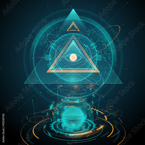 Photo  Abstract futuristic all seeing eye illustration