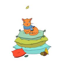 Cute Cartoon Cat On Cushions.