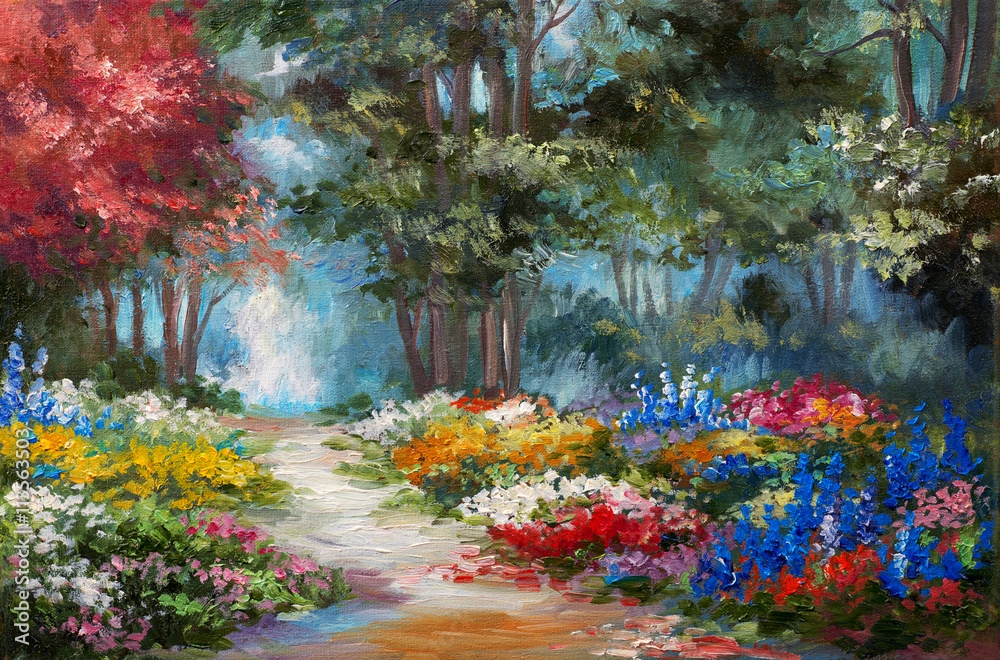 Fototapety, obrazy: Oil painting landscape - colorful forest