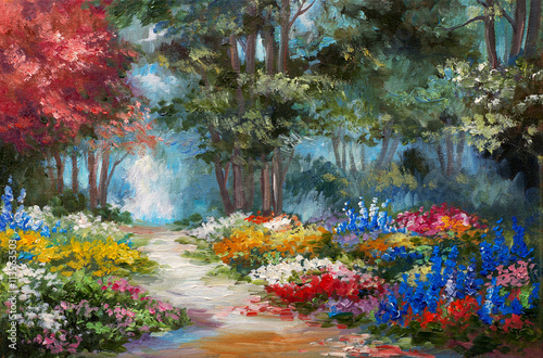 Fototapeta Oil painting landscape - colorful forest obraz