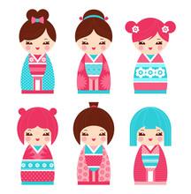 Set Of Cute Japanese Kokeshi Dolls