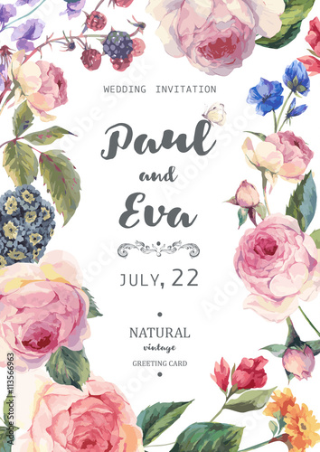 Fotografía  Vintage floral vector roses wedding invitation