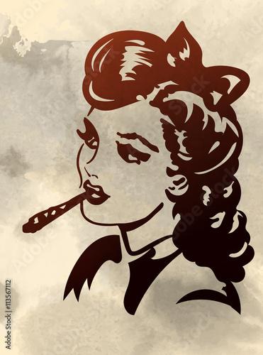 retro-mloda-kobieta-smocking-wspolnego-obrazu-wektorowego