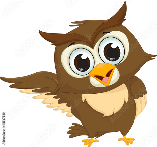 Poster Uilen cartoon cute owl cartoon waving