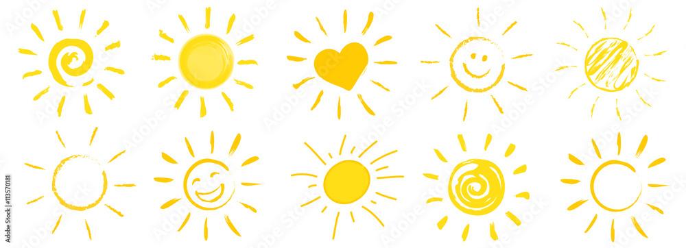 Fototapety, obrazy: drawn sun icons