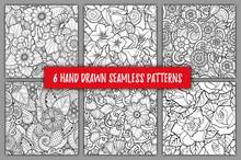 Set Of Seamless Patterns With Stylized Flowers. Ornate Zentangle