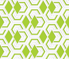 Colored 3D Overlapping With Green Diamonds Hexagons