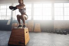 Fitness Woman Doing Box Jump W...