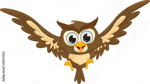 Foto op Plexiglas Uilen cartoon cute owl cartoon flying