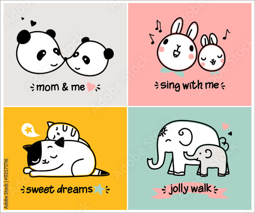 collection of romantic cards notes stickers labels logos with