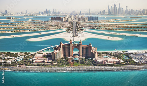 Palm Jumeirah in Dubai with Hotel Atlantis and monorail
