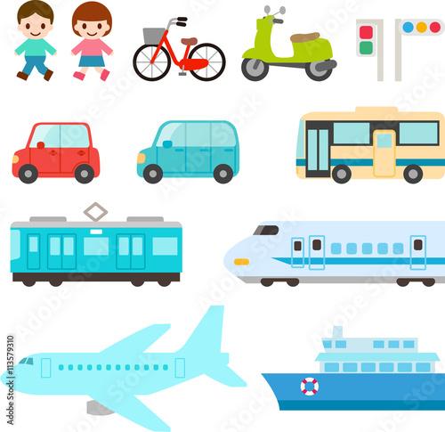 Canvastavla 交通手段、乗り物のイラストセット