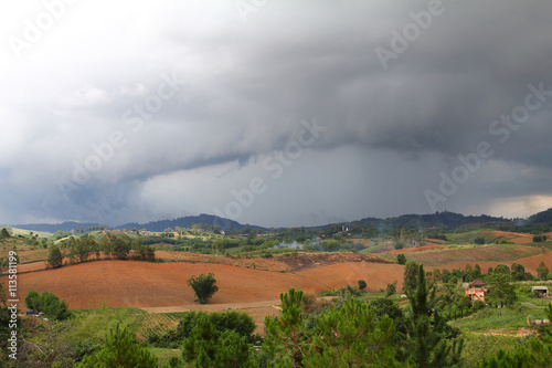 Abstract background of nature and arcus cloud (shelf cloud) during time the rains