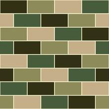 Camouflage Green Brick Wall Se...