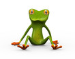 3d frog sitting on ground