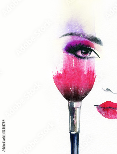 Garden Poster Watercolor Face Beautiful woman face. Abstract fashion watercolor illustration