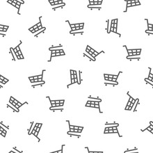 Seamless Pattern - Shopping Trolley (grocery Cart)