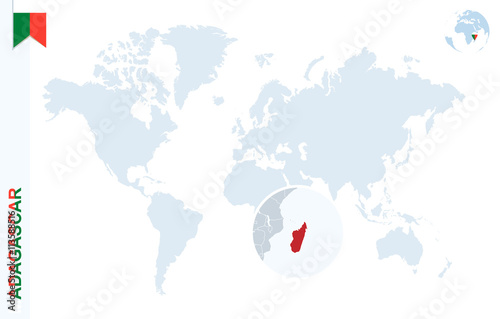Blue World Map With Magnifying On Madagascar Buy This Stock