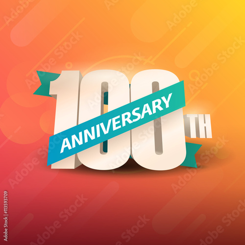 Poster  100th Anniversary 3D on orange background