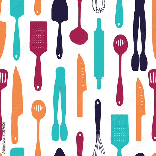 Tapeta do kuchni  seamless-background-with-a-pattern-of-silhouette-cutlery-vertical-pattern-of-colored-cutlery-background-with-kitchen-utensils-in-a-cartoon-style-wallpaper-with-kitchen-cutlery-vector