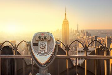 Manhattan Skyline And Tourist Binoculars New York City