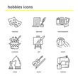 Hobbies vector icons set: theater, writing, photography, cooking
